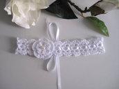 Fascetta capelli bianca neonata nascita battesimo cerimonia idea regalo fatta a mano uncinetto handmade