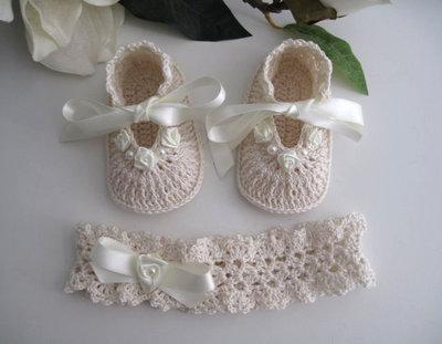 Set coordinato neonata crema/avorio battesimo cerimonia nascita fatto a mano idea regalo all'uncinetto