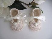Scarpine crema/avorio fatte a mano battesimo cerimonia nascita idea regalo neonata uncinetto