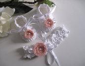 Set coordinato bianco/fiore rosa tenue neonata battesimo cerimonia nascita fatto a mano cotone uncinetto