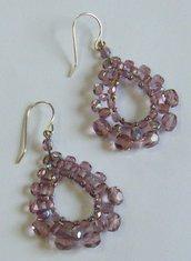 orecchini in mezzo cristallo da 3,4 e 6 mm. colore viola