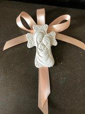 Segnaposto croce con sacra famiglia gesso ceramico