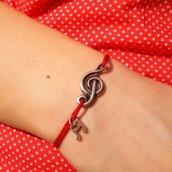Bracciale di corda con pendente charm in argento Melodia dell'anima, fatto a mano