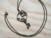 Collana vintage con ciondolo a chiave a forma di orologio, catena nickel free