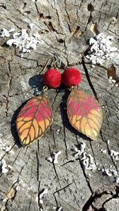 Orecchini foglie d'autunno in fimo con perle in velluto, gioielli autunnali per regalo di compleanno