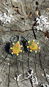Orecchini in resina nei colori dell'autunno, regalo sorella