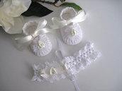 Set scarpine + fascia capelli bianco/avorio neonata uncinetto