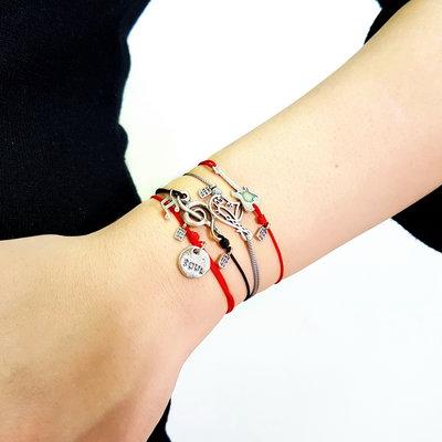Bracciale di corda con pendente charm in argento Chitarra, fatto a mano