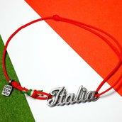 Bracciale di corda con pendente charm in argento Italia, fatto a mano