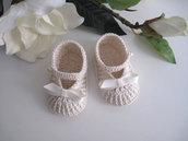 Scarpine neonata neonato uncinetto battesimo nascita cerimonia cotone color crema baby shoes crochet handmade