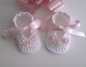 Scarpine bianche/roselline rosa tenue