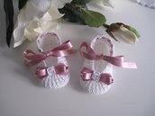 Scarpine bianche/fiocco rosa antico