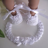 Set bianco scarpine + fascetta