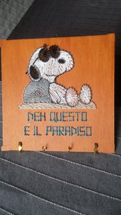 Quadretto string art portachiavi Snoopy
