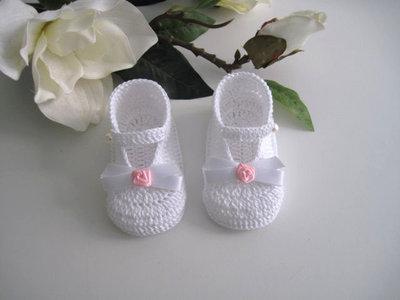 Scarpine neonata bianco/rosa fatte a mano idea regalo nascita battesimo cerimonia uncinetto