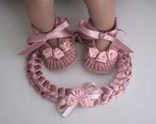 Set raso rosa antico neonata