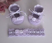 Set lilla neonata all'uncinetto
