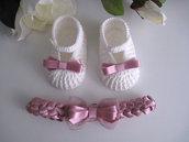 Set coordinato neonata fascetta + scarpine cotone panna / raso rosa antico