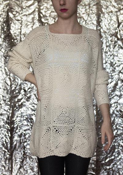 Maglione bianco fatto a mano lana merinos-UnicOrn