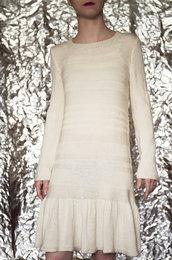 Abito color panna fatto a mano 100% lana vergine-UnicOrn