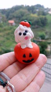 Decorazione per Halloween cane maltese nella zucca, miniatura maltese regalo per amante dei cani