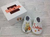 Scarpine ecopelle Ape personalizzate con nome - Confezione personalizzata - Bimba Neonata 3/6 mesi