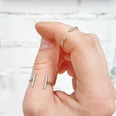 Anello in argento Connection per falangi, fatto a mano, regolabile
