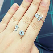 Anello in argento Cilindro e baffi per falangi, fatto a mano, regolabile