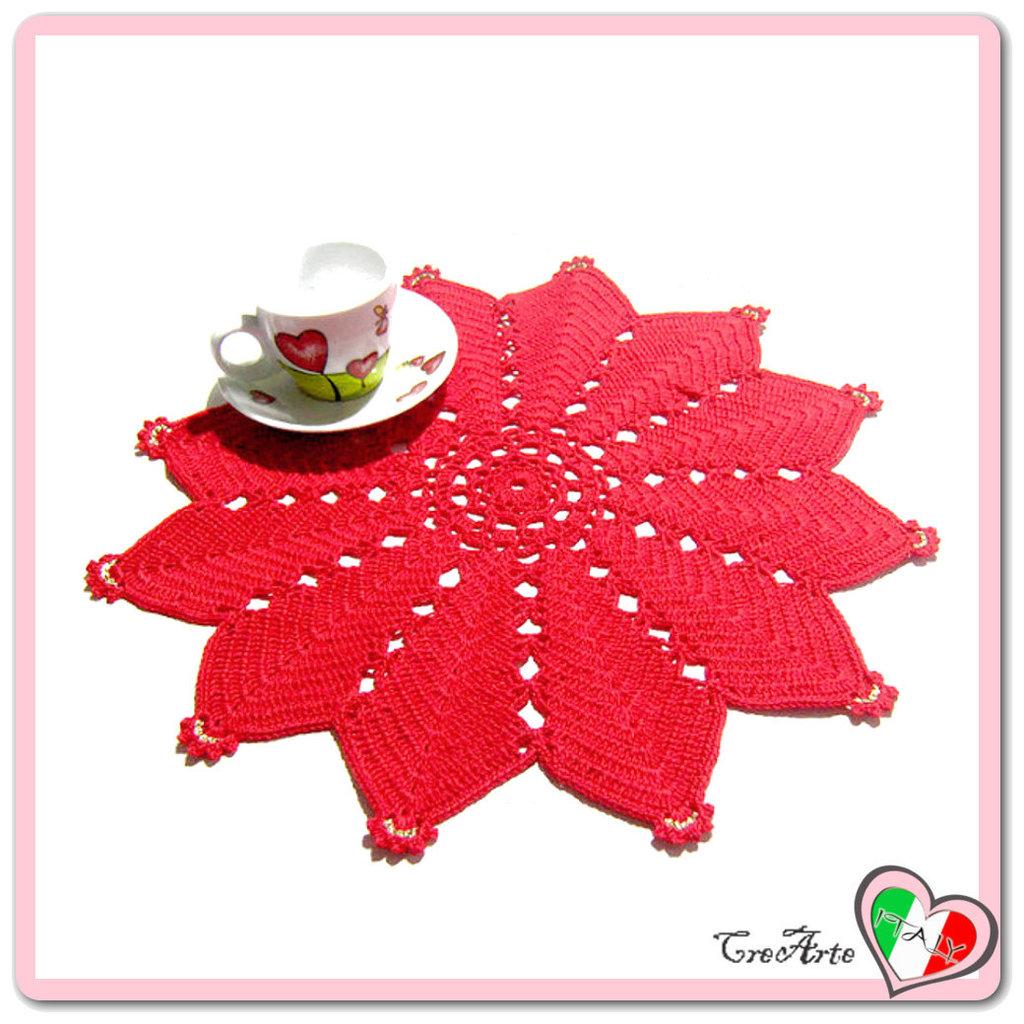 Centrino Rosso Alluncinetto Ideale Per La Tavola Di Natale Per L