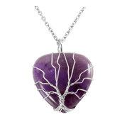 Collana con ciondolo in autentica ametista e albero della vita wire chakra cristalloterapia