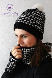 Completo berretto, scaldacollo e mezzi guanti all'uncinetto // Set donna lana alpaca // Completo uncinetto pied de poule // Set invernale