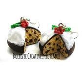NATALE IN DOLCEZZE - Orecchini pandoro - panettone - con gocce di cioccolato e glassa di zucchero con agrifoglio