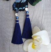Orecchini nappa con Perle Swarovski e monacchela in ottone
