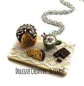NATALE IN DOLCEZZE - Vassoio con panettone, tazza di latte caldo e barretta di cioccolato - miniature kawaii