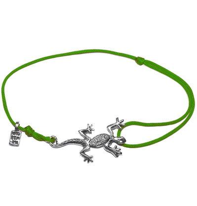 Bracciale di corda con pendente charm in argento Lucertola, fatto a mano