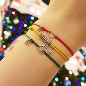 Bracciale di corda con pendente charm in argento Albero di Natale, fatto a mano
