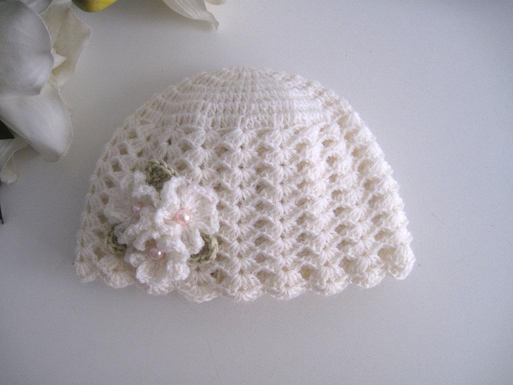 d782945095 Cappellino neonata uncinetto lana merinos color panna fatto a mano idea  regalo corredino nascita battesimo cerimonia handmade crochet