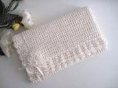 Copertina neonata uncinetto lana merinos color panna fatta a mano idea regalo corredino nascita battesimo cerimonia