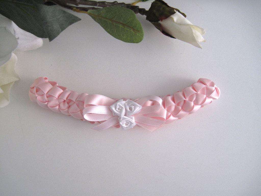 Fascia fascetta per capelli neonata rosa rose bianche fatta a mano raso battesimo cerimonia nascita handmade