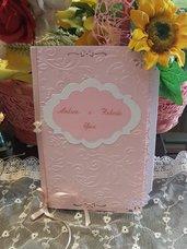 Libretto Messa in cartoncino Perlato in rilievo e smerlatura effetto pizzo