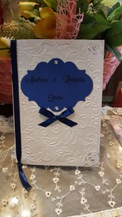 Libretto Messa Chic in cartoncino Perlato in rilievo e smerlatura effetto pizzo