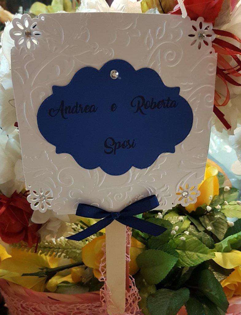 Ventaglio Matrimonio Personalizzato in cartoncino perlato