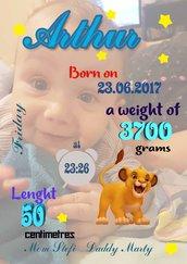 Quadretto nascita personalizzato con foto