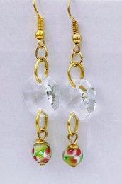 Orecchini pendenti con cristallo e vetro veneziano decorato - Rosellina di Mur