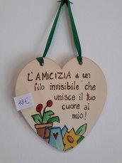 """targa a cuore in legno """"amicizia"""""""