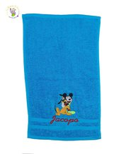 Asciugamano in spugna di cotone azzurra Topolino e Pluto - personalizzato con ricamo del nome - Misure: 50 x 30 cm