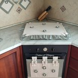 Set cucina copriforno, coprifornelli, presine stile country chic