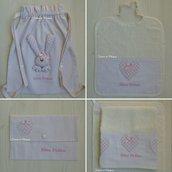 Set asilo bimba - Sacca,asciugamani,bavaglino,portabavaglino