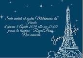 Invito digitale tema Parigi, torre eiffel matrimonio, compleanno, nozze, comunione