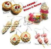 Lotto - Super offerta - Saldi - Idea regalo - Orecchini crostate fragole, zucchero filato, bottiglie di caramelle, panna, e biscotti glassati